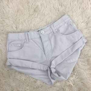One Teaspoon Bandits Shorts White Destroyed Rolled